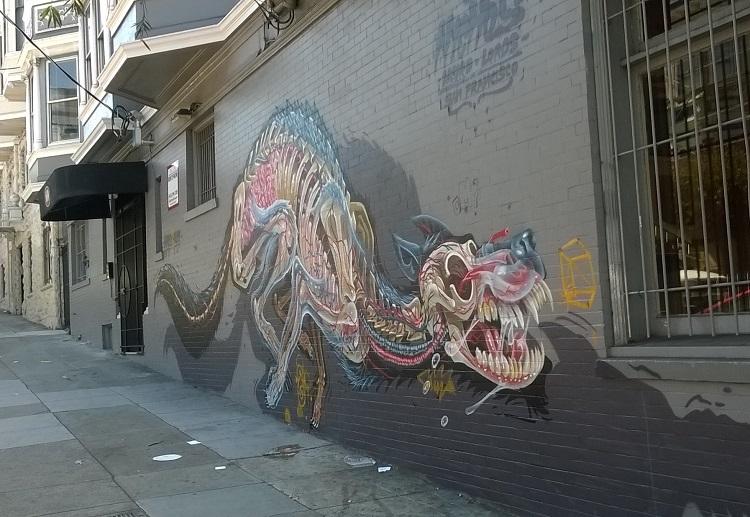 динозавр граффити